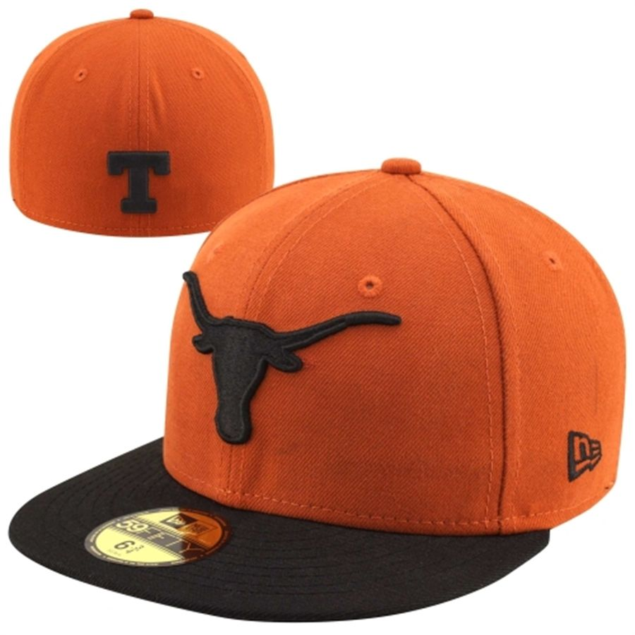 19e84375801 New Era Texas Longhorns Two-Tone 59FIFTY Fitted Hat - Burnt Orange Black