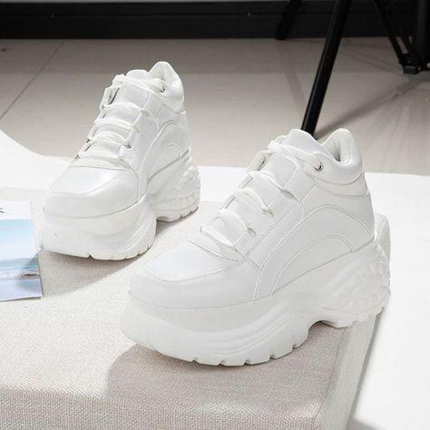 white sneakers women platform