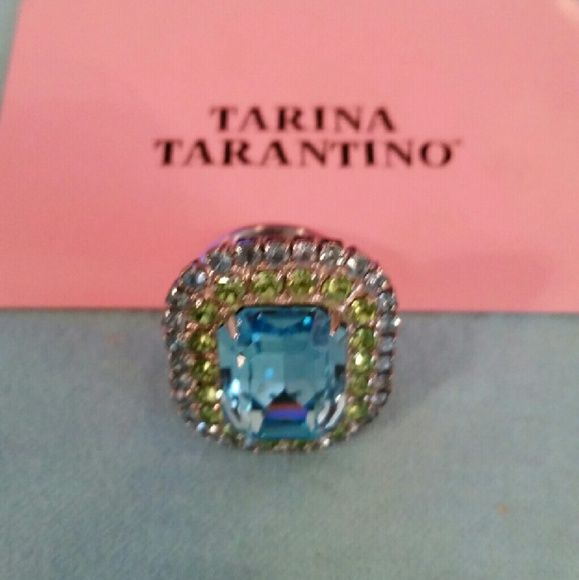 Authentic Tarina Tarintino Cocktail  Ring. NWT Light Blue And Green Swarovski crystals. NWT Size 6 Jewelry Rings