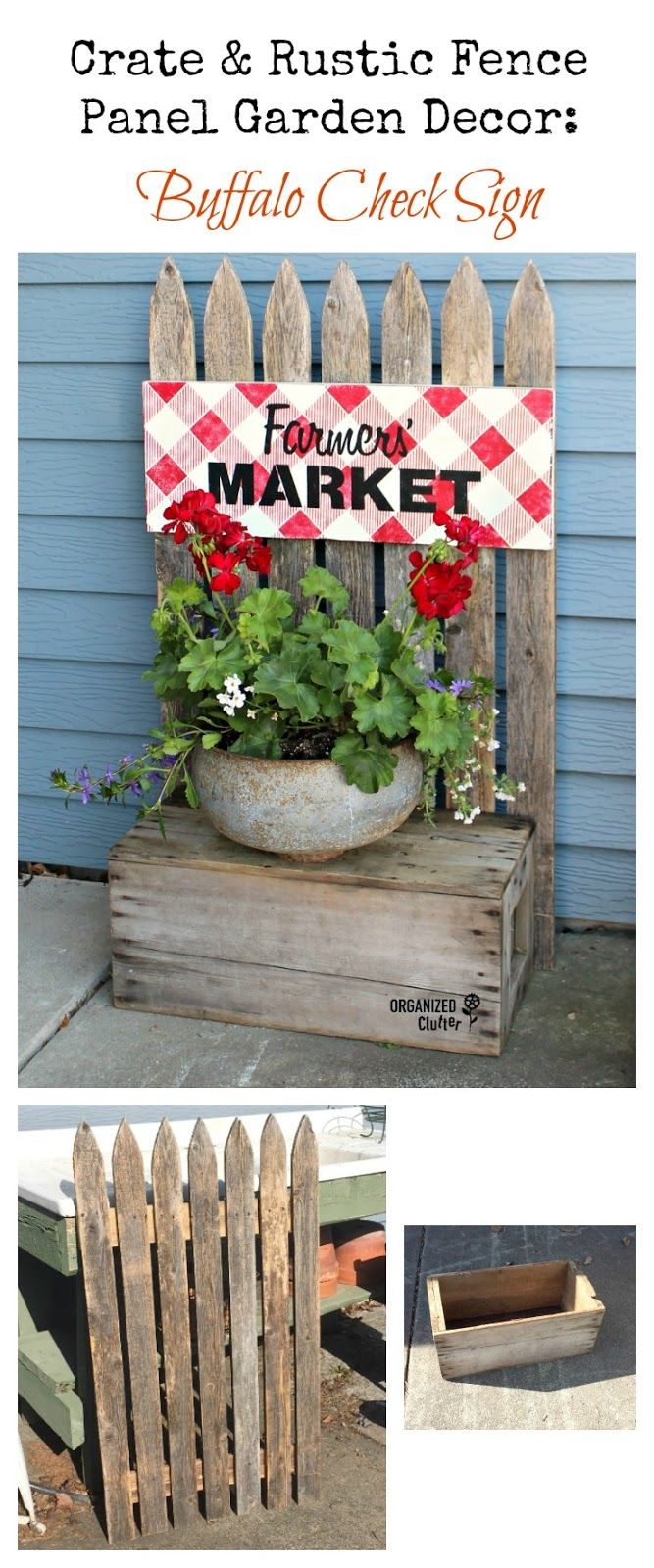 Photo of Weathered Picket Fence, an Old Crate & a New Sign Come Together in a New Junk Garden Project