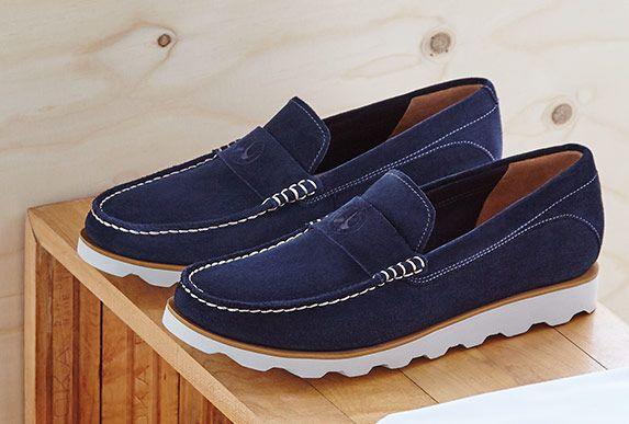 Dakin Edge, Navy suede Clarks mens loafers | clarks.eu