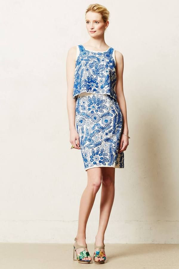 e68196a4b42 Anthropologie Embroidered Bleuet Pencil Skirt on shopstyle.com ...