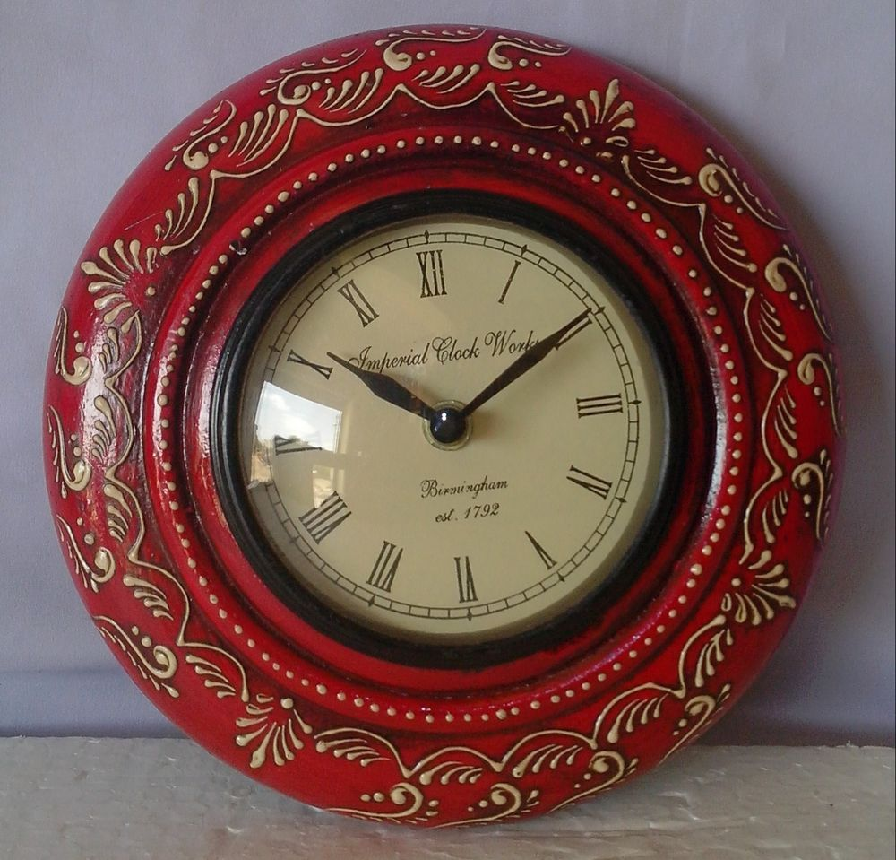 Old design handicrafts emboss painting wooden wall clock hanging old design handicrafts emboss painting wooden wall clock hanging home art india amipublicfo Images