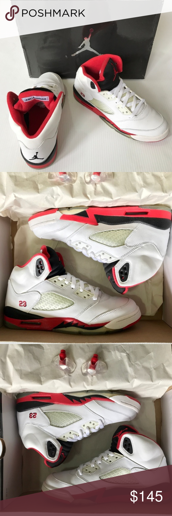 separation shoes a2f5b ffd60 2006 Nike Air Jordan Retro (GS) 5 V White Red, 6Y Authentic Jordan
