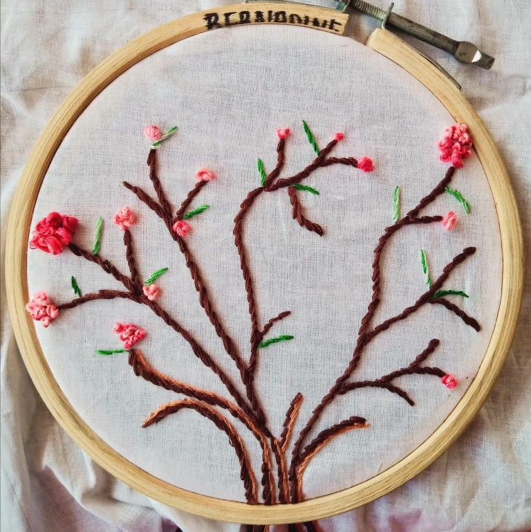 Stem stich embroidery with french knot | French knots ...