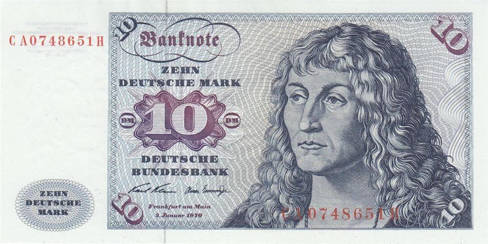 German Money 10 Deutsche Mark banknote of 1970. Bank