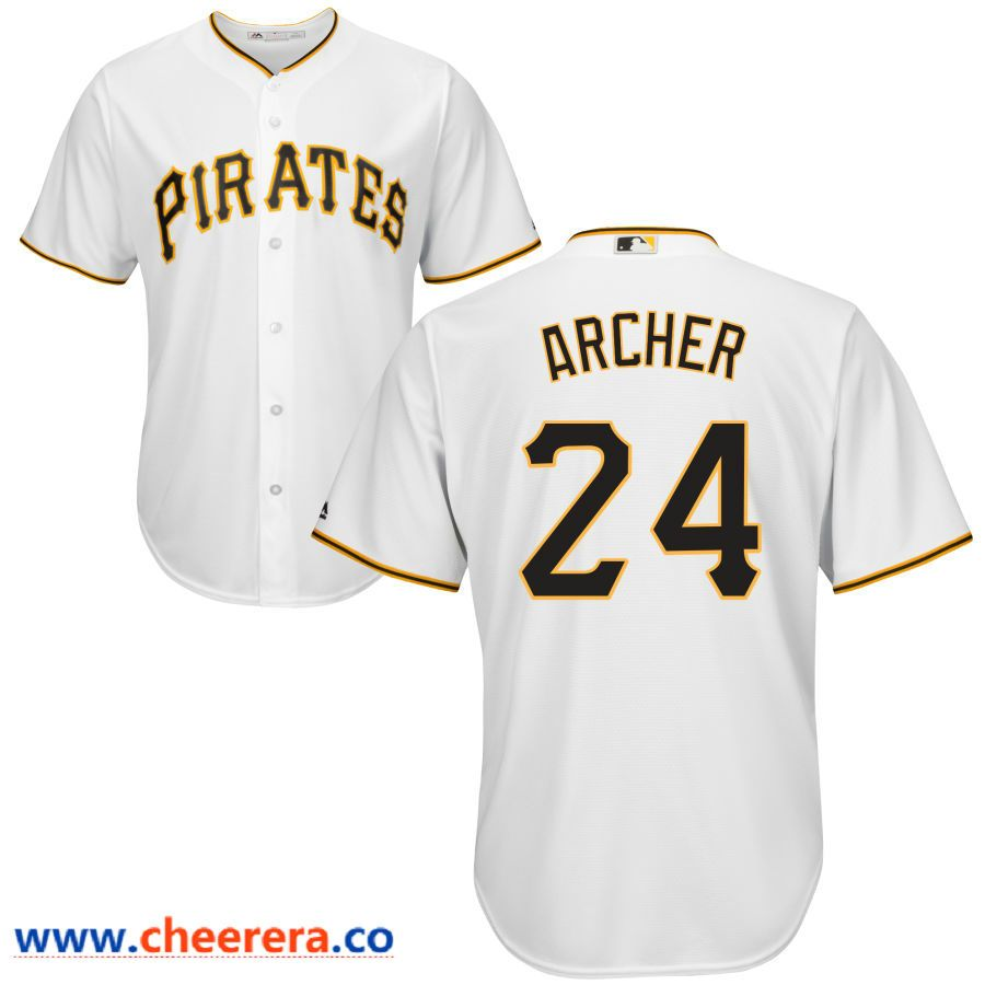 100% authentic 71dca bdc7a Men's Pittsburgh Pirates #24 Chris Archer Majestic White ...
