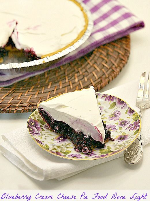 Will adjust this recipe to fit our preferences - great idea, fresh berries and cream cheese! Yum! But we don't do low-fat, store bought whipped topping or refined sugars - so I will change that! Blueberry Cream Cheese Pie www.fooddonelight.com