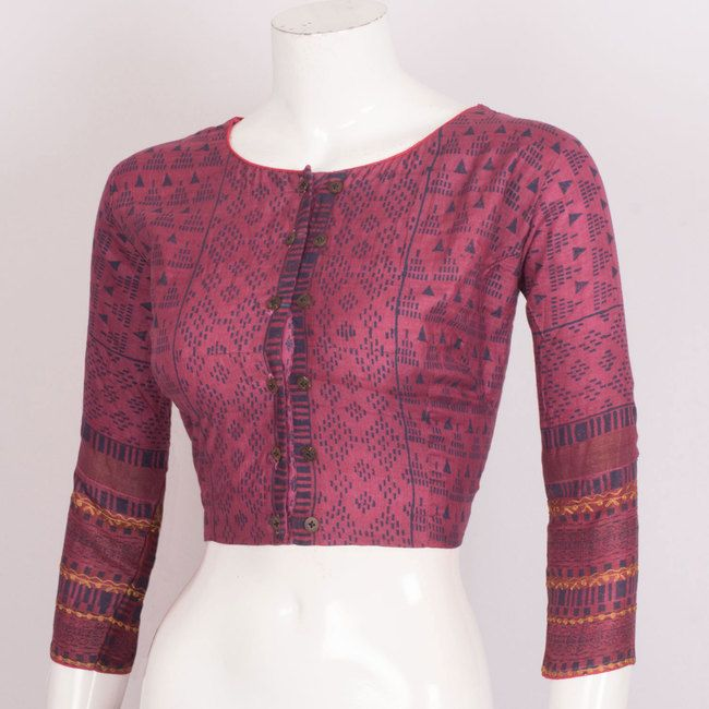 914d133f00bfc2 Hand Block Printed Cotton Blouse With Embroidered Sleeve 10021510 - 40 -  AVISHYA.COM