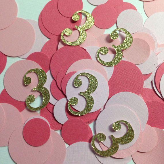 Age Confetti Gold Glitter Pink Silver Glitter Girls Birthday