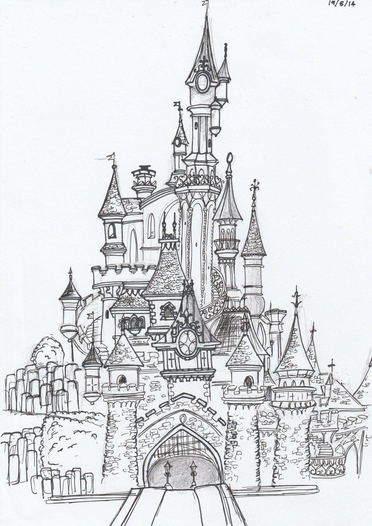 25 idées de Chateaux disney  château de disney, dessin chateau