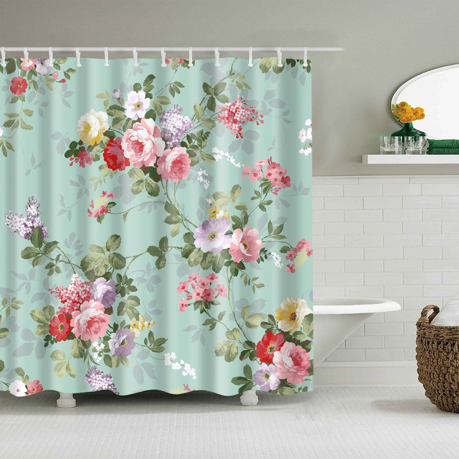 Teal Backdrop Pink Rose Flower Shower Curtain in 2020 ...