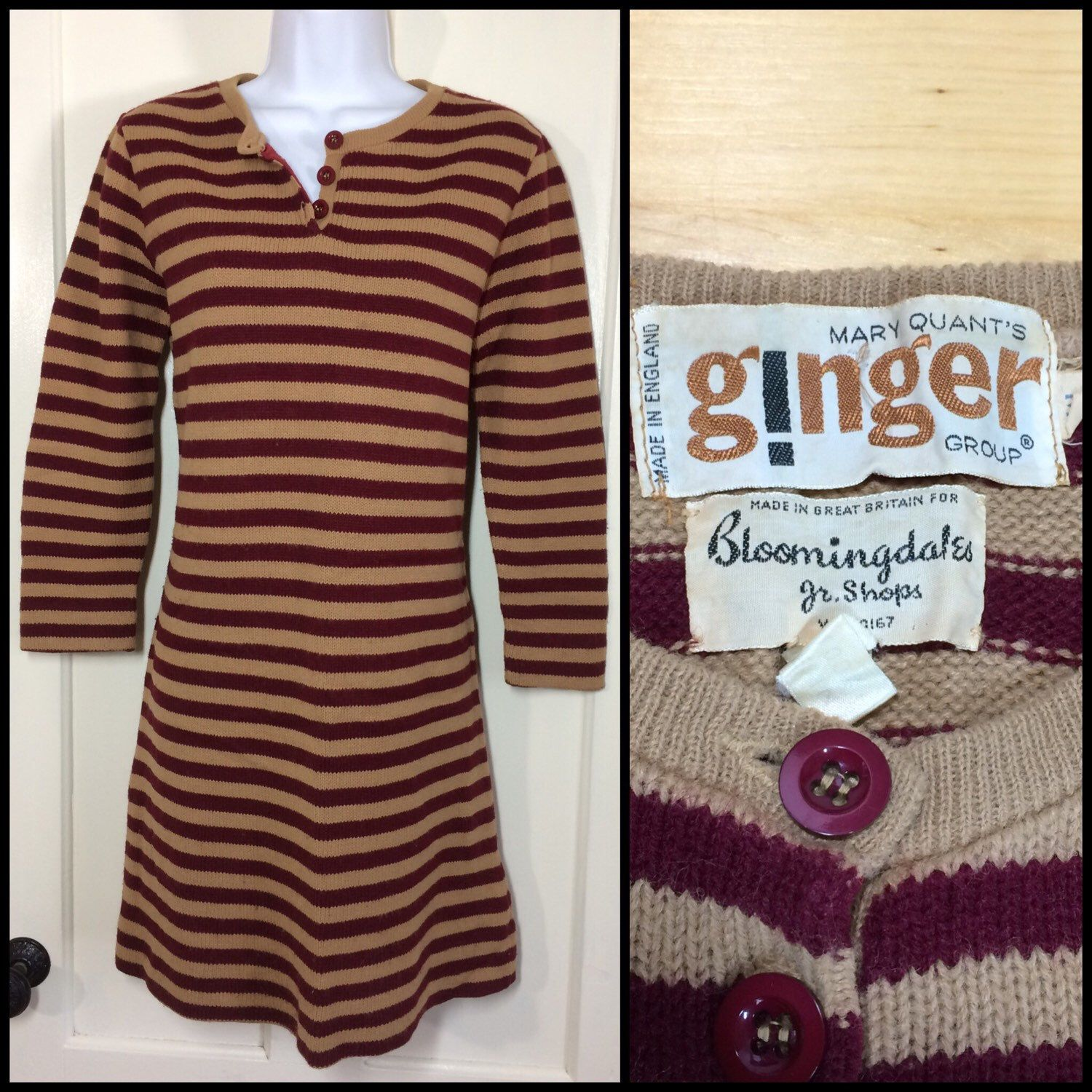 Vintage Designer Mary Quant striped sweater dress. #mod #punk ...