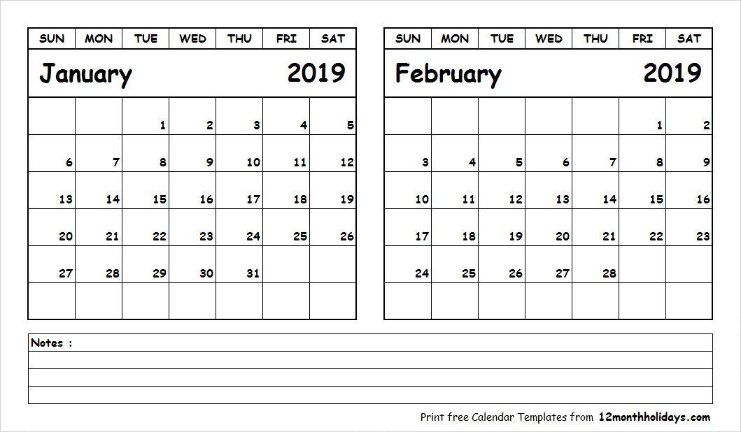 Calendar Printable January And February 2019 January February 2019 Calendar Printable   2018 Calendar   January