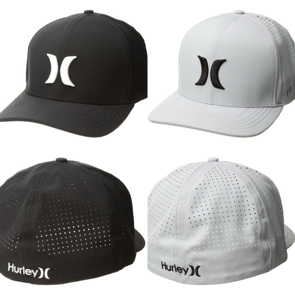reputable site 5be24 6c1c0 HURLEY NWT Nike Dri Fit Phantom Vapor 3.0 Hat FlexFit Grey Black Stretch Cap   Hurley  BaseballCap