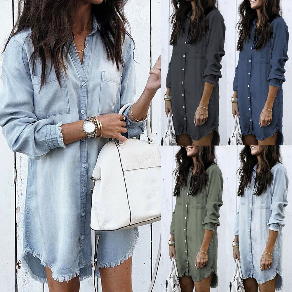 40b35657086  DenimDress Ladies Women s Jeans Denim T-Shirt Long Sleeve Casual Loose Fit Shirt  Mini Dress - Denim Dress  20.28 End Date  Sunday Dec-2-2018 4 18 49 PST ...