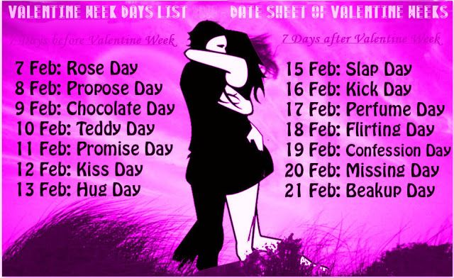 Valentines Day Week List Date Schedule Sheet Calendar With