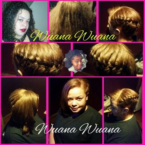 Wuanie's Creation...  Color from dark brown to Honey blonde.  Inversion braid and curls Trimmed ends