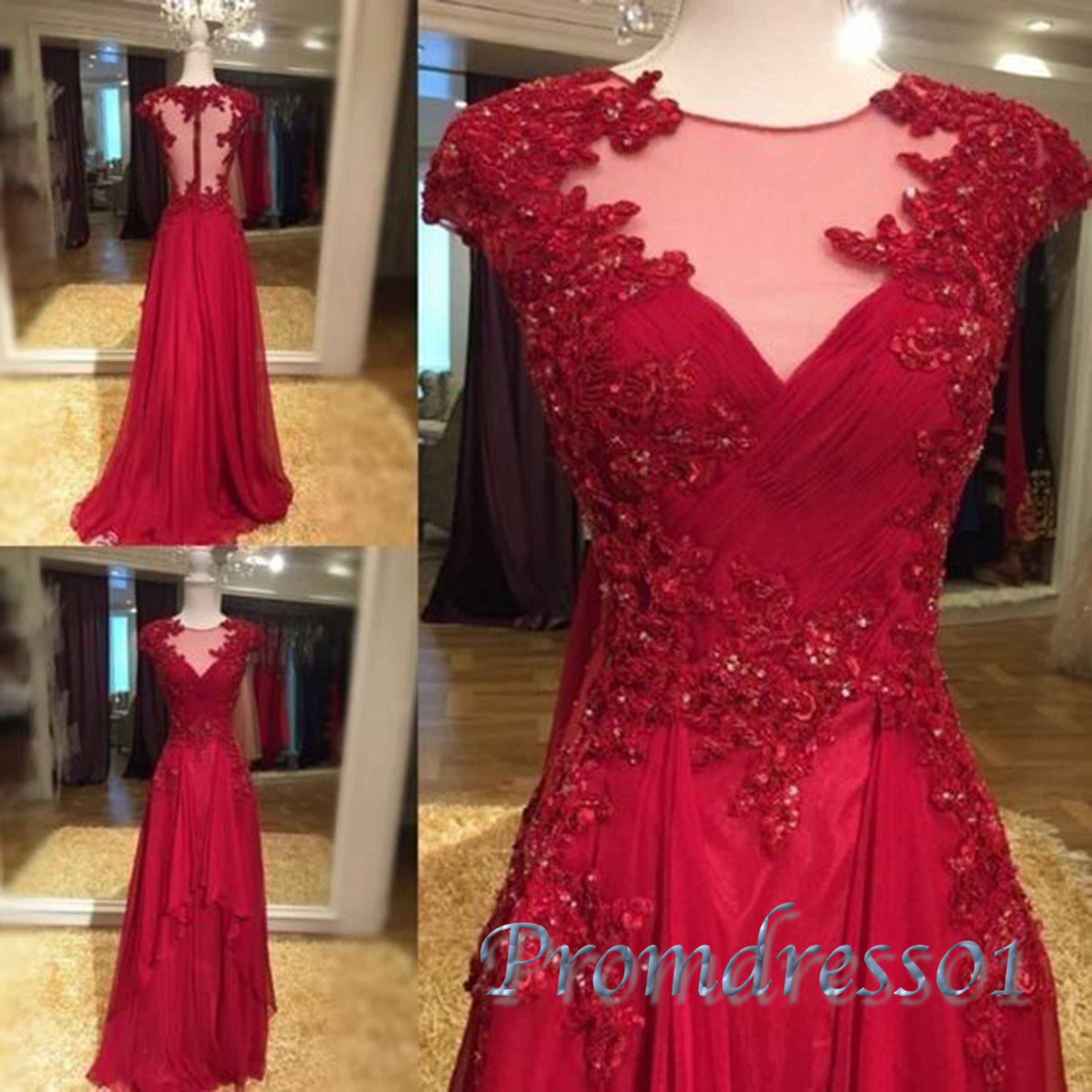 cute seethrough back cap sleeved red chiffon prom dress with