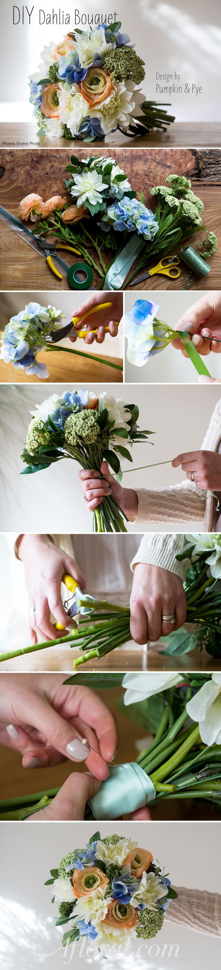 Make this beautiful bouquet with silk flowers for your wedding ...