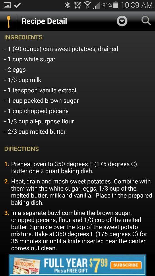 Sweet potato cassarole