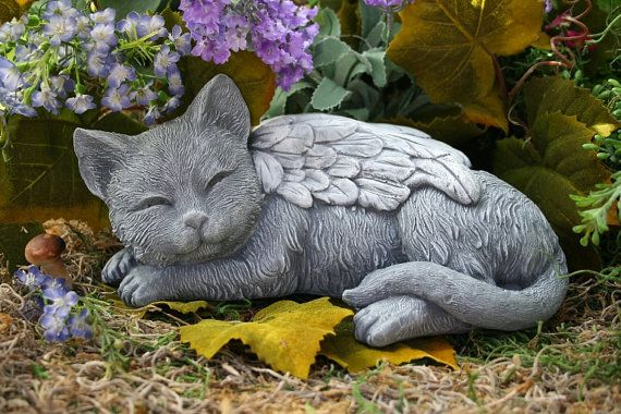 Angel Cat Statue   Cat Memorial Garden Sculpture In Concrete