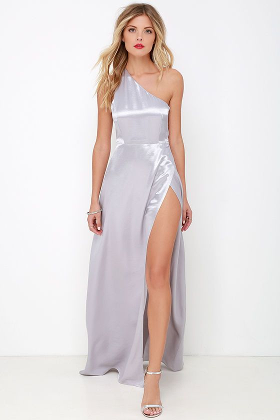 a006e30bb67a Lovely Silver Dress - One Shoulder Dress - Maxi Dress - Satin Dress -  62.00