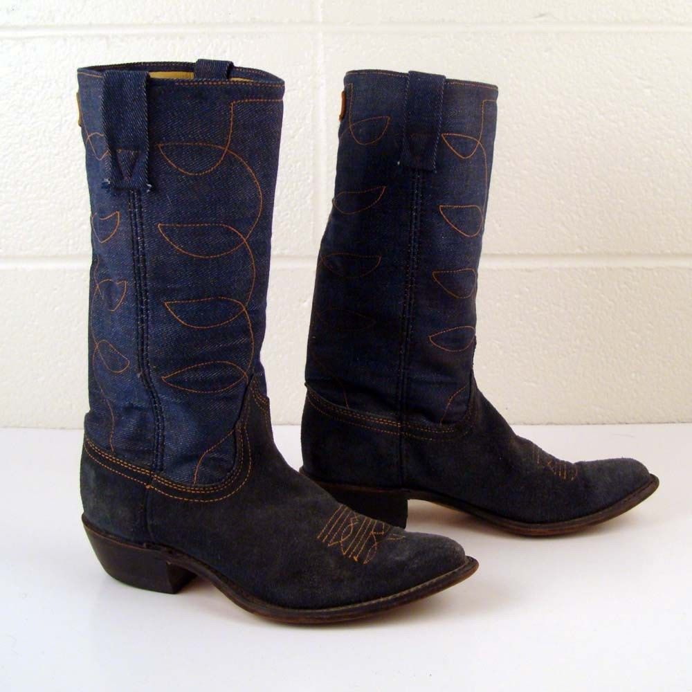 08cb806a579 Denim Cowboy Boots Vintage 1970s Denim Acme Blue Suede Leather ...