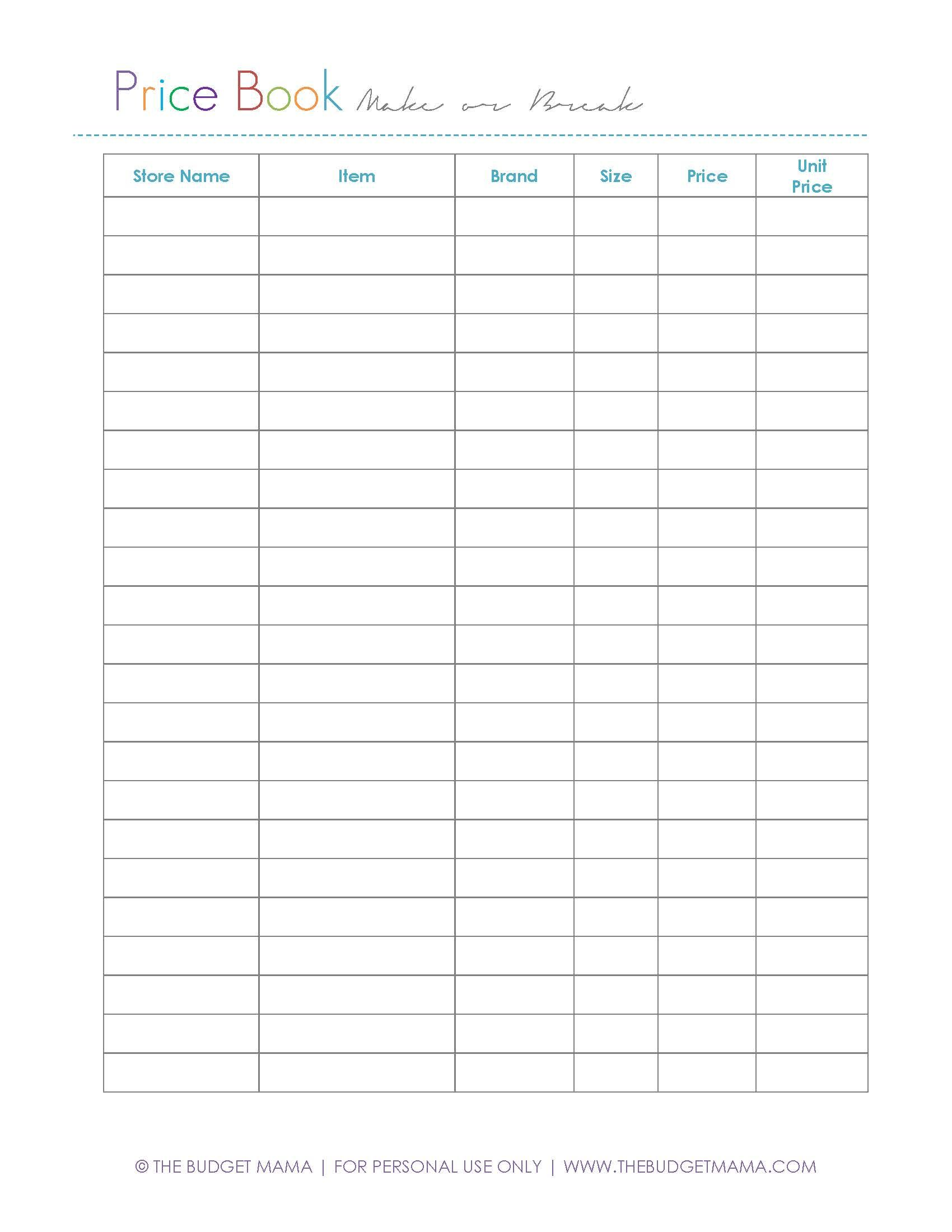 Worksheets Comparison Shopping Worksheets make or break price using a book business