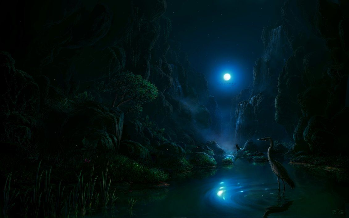 Night Scene In The Moonlight By Fel X On Deviantart Landscape Artwork Night Scene Anime Places