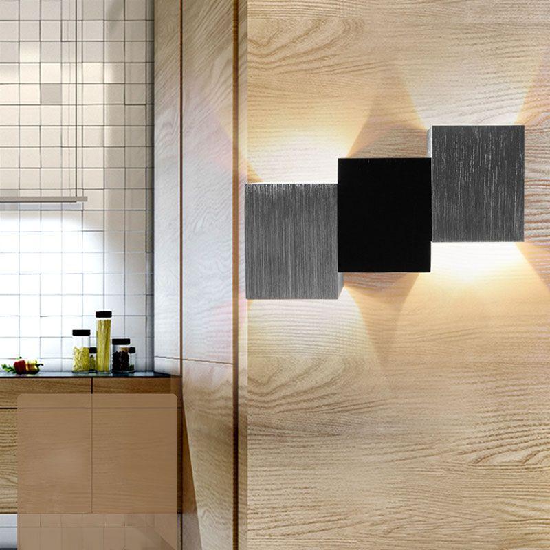 Oobest Rectángulo Moderna Lámpara De Aluminio Lámpara De Pared De Interior  LED Blanco Cálido 2*3 W Para Escalera Dormitorio Salón De Oficina Porche  KTV ...