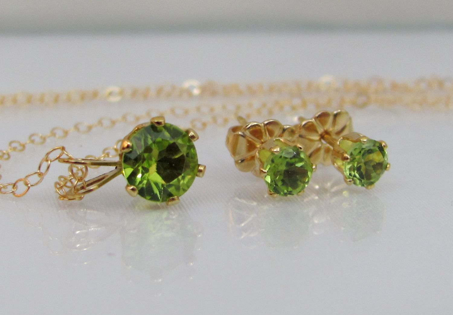 Peridot Necklace And Earring Set, 14k Gold Filled Jewelry Set