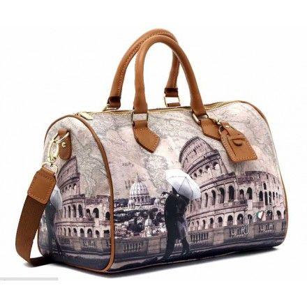 a343bb6ce3 YNOT BORSA DONNA BAULETTO MEDIUM COLOSSEO ROMA Borsa bauletto medio a mano  stampa Roma Colosseo.