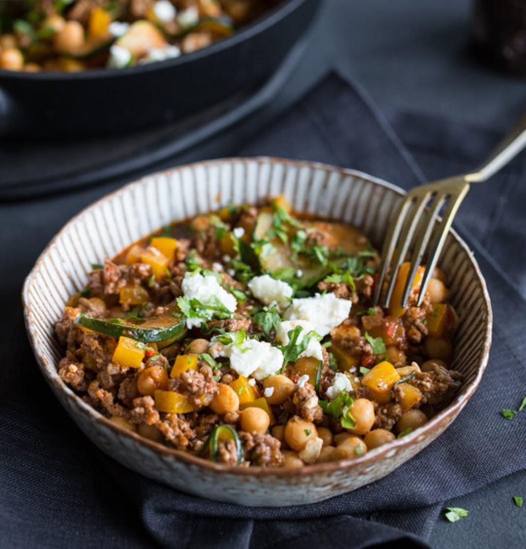 Schnelle Kichererbsen-Paprika-Pfanne mit Feta #vegetariandish