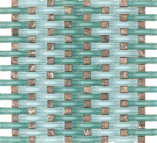 Sample Ocean Blue Wavy Glass Emperador Dark Mosaic Tile Mix Kitchen Backsplash Mosaic Glass Mosaic Tiles Mosaic