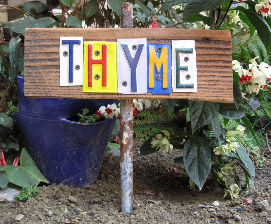 plant marker from license plate letters