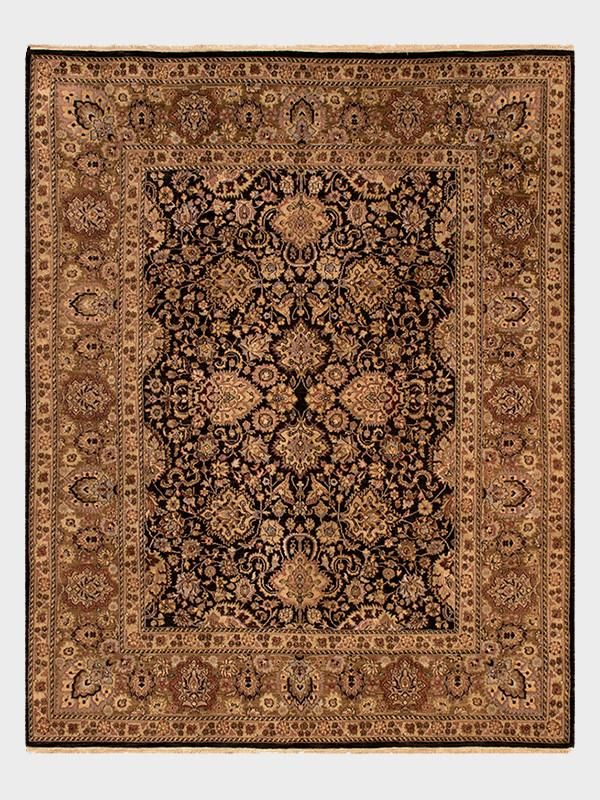 Augusta Hand Knotted Rug From India In Moon Black Dark Cherry And Mahogany Size