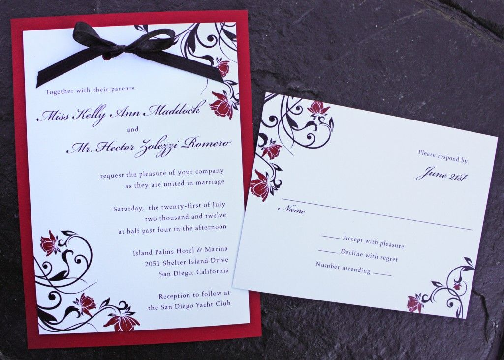Red And Black Wedding Invitations Templates: Red Rose And Black Swirl Vine With Black Ribbon And Red