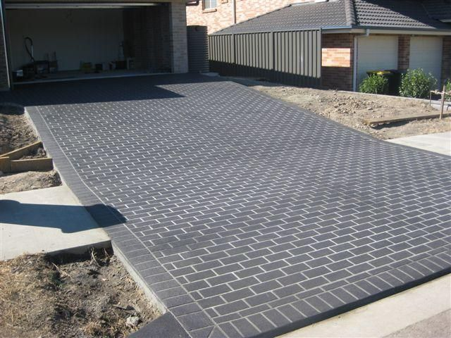 Driveway Stencil Brick Pattern And Border In Gunmetal Modern Driveway Driveway Tiles Driveway Design