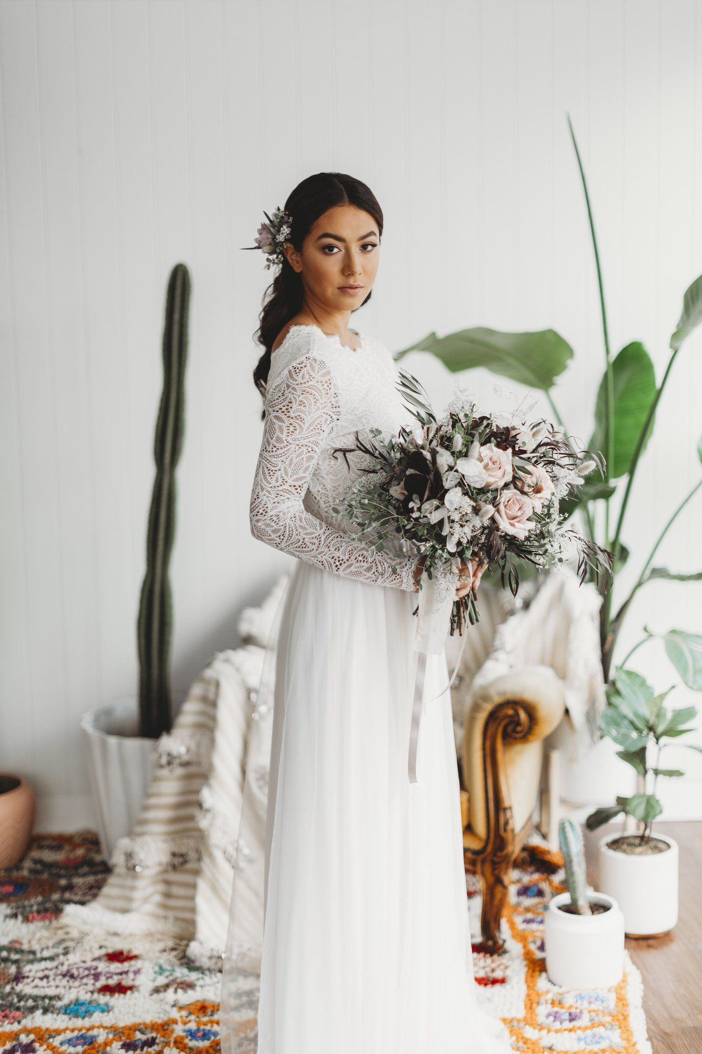 Lace wedding dress low back  SKYE Gown u Long Sleeve Lace Wedding Dress u Low Back Lace Wedding