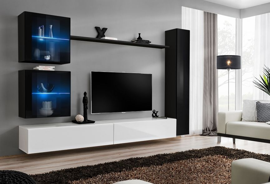 Black Wall Units For Living Room Sets Leather Recliner Shift Xviii Modern And Entertainment Tv Unit Storage