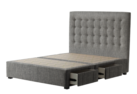 Buttoned headboard|Linen Look fabric|Ash colour|Storage Base|Venus Square Timber Legs|Queen size