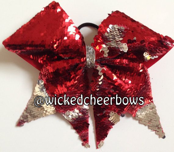 bcaaf7c590 Cheer Bow - Red   Silver Reversible Sequins. Cheer BowsSequinsGlitter