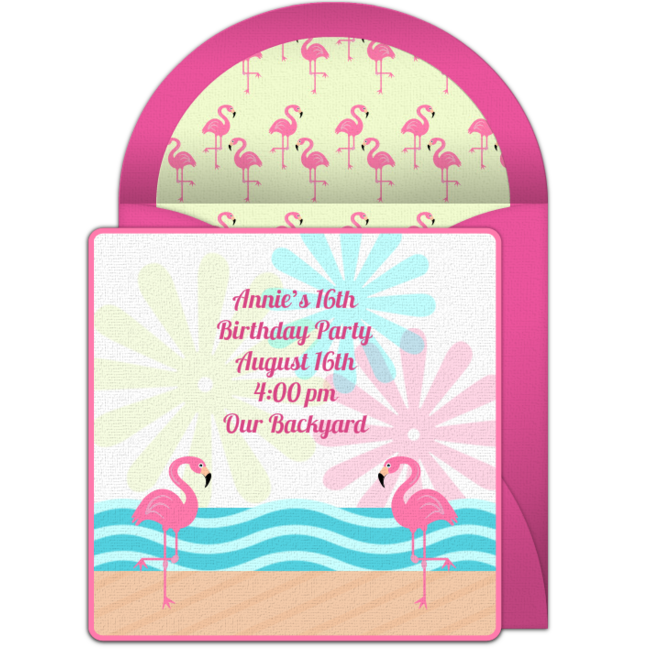 Send FREE Flamingo Online Invitations For Your Party Popular Design That Looks Like Real Paper Its Perfect Birthday Parties Summer
