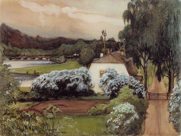 """""""The Foreman's House at Saari Manor (Manor in Häme) / Saaren Kartano,Pehtoorin Talo (Herraskartano Hämeessä)"""" (1902) by Albert Edelfelt"""