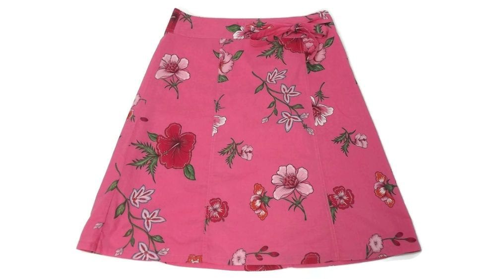 Womens Size 12 Tommy Hilfiger Spring Summer fuchsia Red green floral Skirt  #TommyHilfiger #FullSkirt