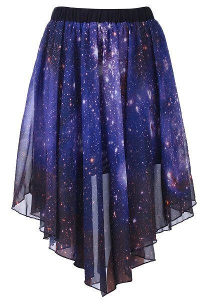 Amazon.com: Romwe Women's Starry Night Print Asymmetric Galaxy Polyester Skirt: Clothing