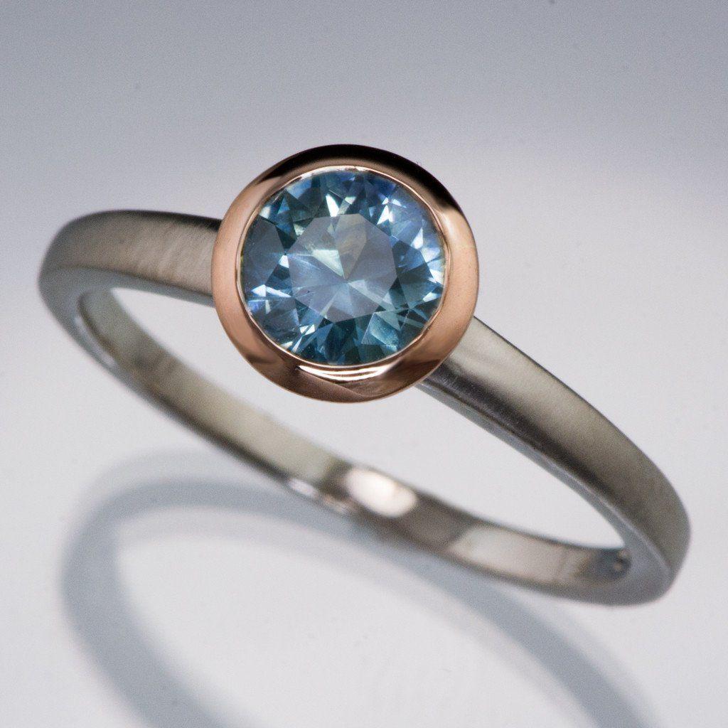 Mixed Metal Fair Trade Blue / Teal Montana Sapphire Engagement Ring