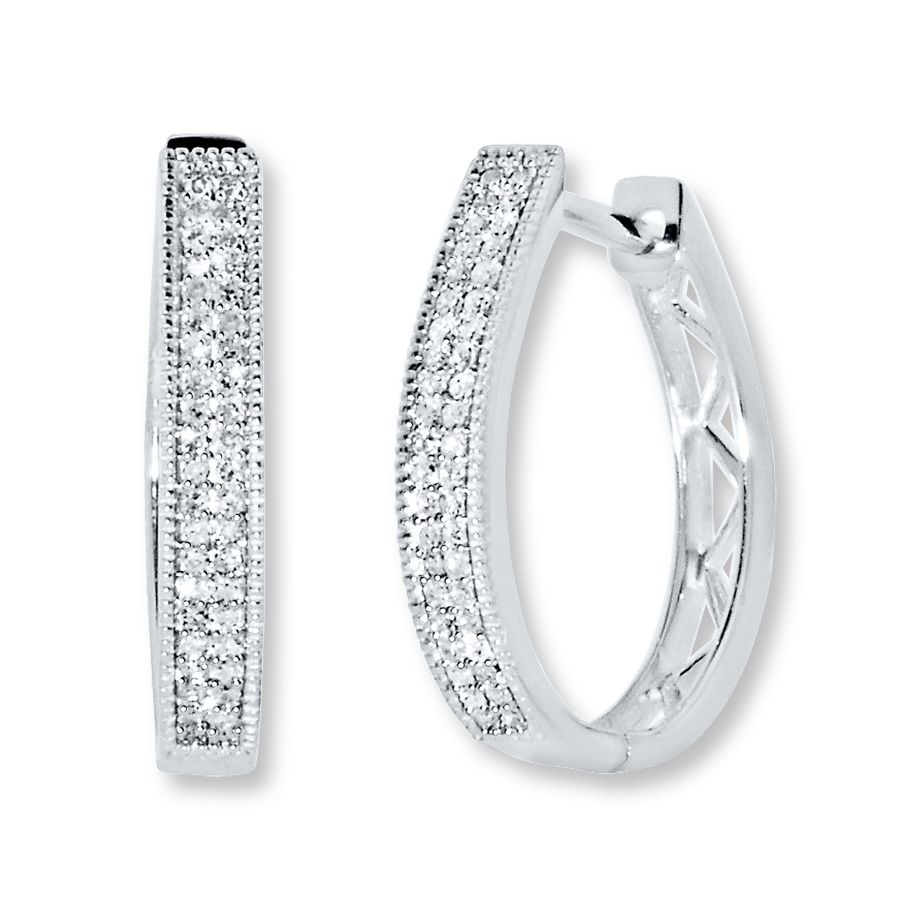 Jared Diamond Hoop Earrings 1 4 Ct Tw Round Cut Sterling Silver