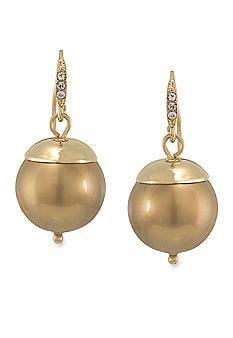 Carolee Cosmic Reflections Gold Pearl Drop Pierced Earrings